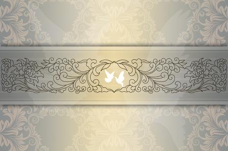 rungs: Plantilla de la invitaci�n de la boda card.Elegant fondo floral con palomas blancas