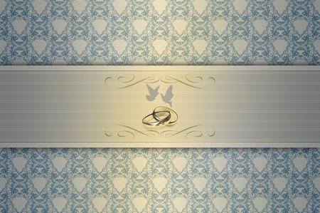 rungs: Plantilla de la invitaci�n de la boda card.Elegant fondo floral con palomas blancas y anillos de oro.