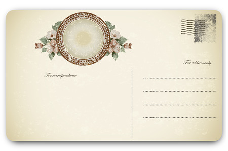 decorative frame: Old postcard and decorative frame with flowers for image or text. Stock Photo