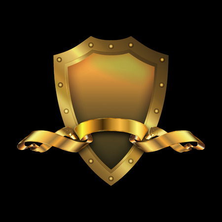 riveted: Medieval gold riveted shield and gold ribbon on black . Stock Photo