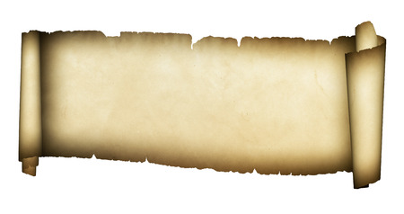 Medieval scroll of parchment on white background.