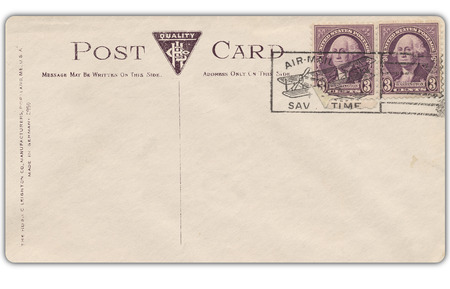 Old postcard with stamp and copy space for your text. photo