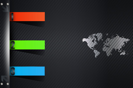 Black abstract background with world map for the design of your business card. photo