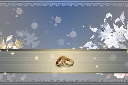 Elegante fondo con hermosos diseños y anillos de oro para el diseño de tarjeta de invitación de la boda. Foto de archivo - 34426020