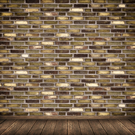 Old Grunge Bricks Wall And Wooden Floor Background For The Design