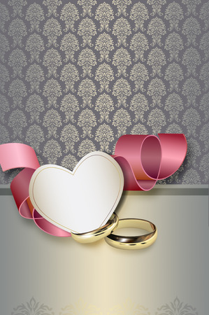 Template of wedding invitation card with decorative patterns and copy space for your text. photo