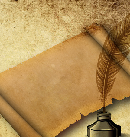 Old grunge paper background with old-fashioned elements and copy space for your text. photo