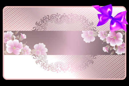 Template of gift or wedding card with bow and flowers. photo