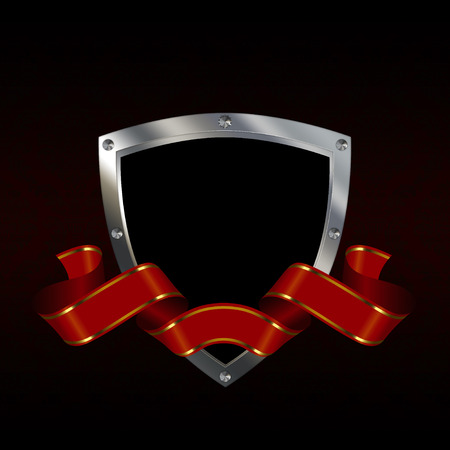 riveted: Medieval riveted shield with red ribbon on black background. Stock Photo