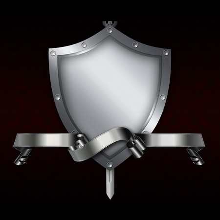 Medieval riveted shield with silver ribbon and sword on black background. photo