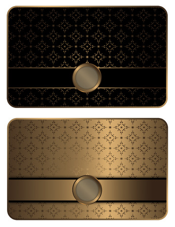 visiting card design: Gold business or gift card template with decorative elements and patterns. Stock Photo