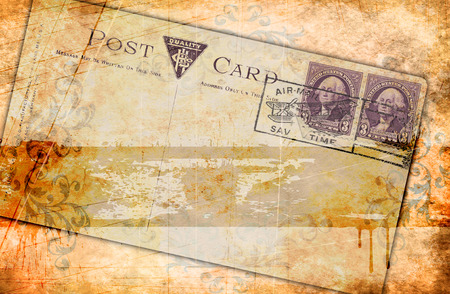 Texture of old paper. Grunge paper background and old-fashioned postcard with copy space for your text. photo