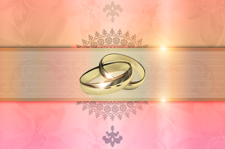 gold rings: Template of wedding invitation card. Decorative wedding floral background with gold rings.