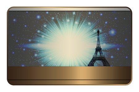 your text: Template of business card. Abstract background with Effel tower and copy space for your text.