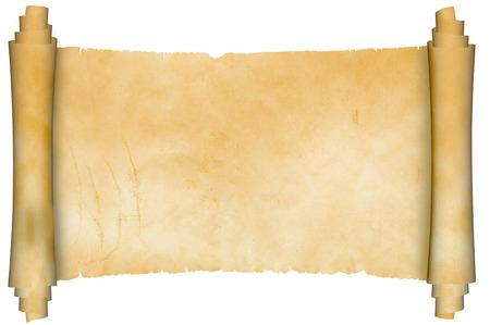 Scroll van oude perkament op een witte achtergrond.