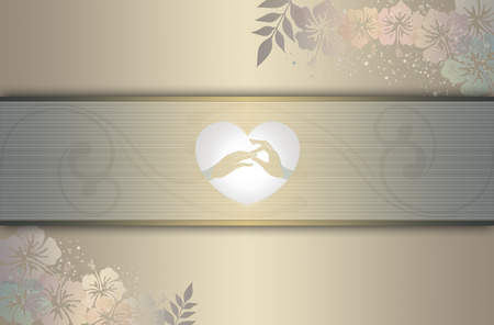 Wedding invitation card with decorative patterns and copy space for your text. photo
