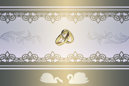 gold rings: Template card of wedding invitation with swan and gold rings.