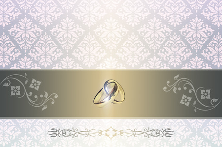 gold rings: Template card of wedding invitation gold rings and floral patterns. Stock Photo