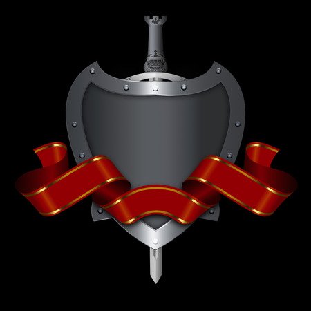 riveted: Abstract ancient riveted shield with red ribbon and sword on black background.