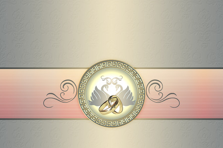 Template card of wedding invitation with swans and floral patterns and gold rings. photo