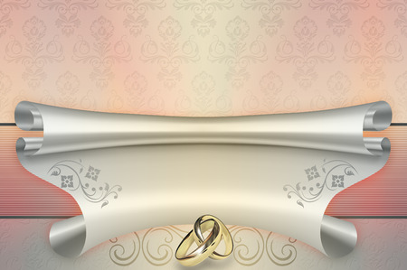 gold rings: Template card of wedding invitation with gold rings and floral patterns.