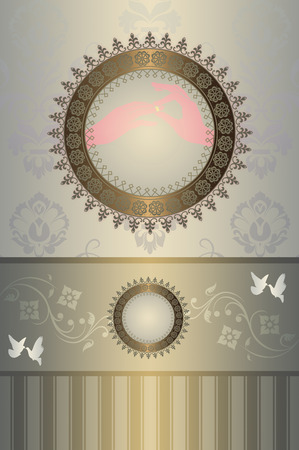 gold rings: Template card of wedding invitation with doves and floral patterns and gold rings. Stock Photo