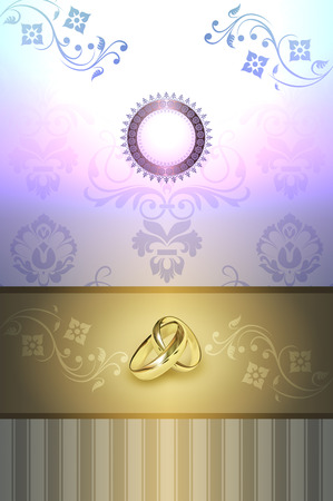 gold rings: Template card of wedding invitation with floral patterns and gold rings.