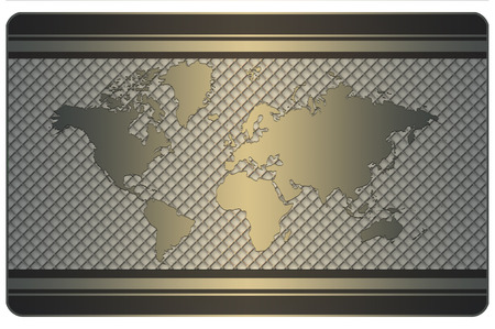 Template of business card with world map and metal mesh. International standard.