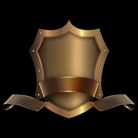 riveted: Gold riveted shield with gold ribbon on black background for the design.