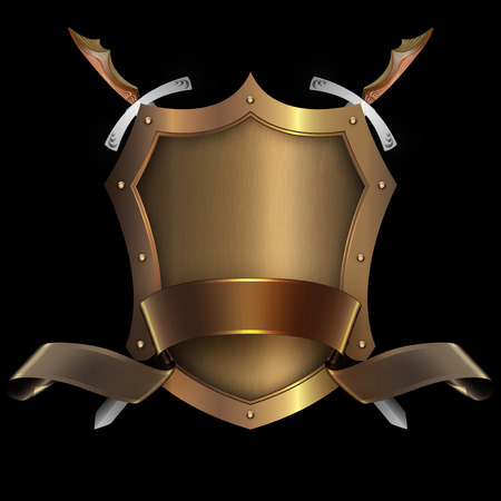 riveted: Gold riveted shield with gold ribbon and two swords on black background for the design.