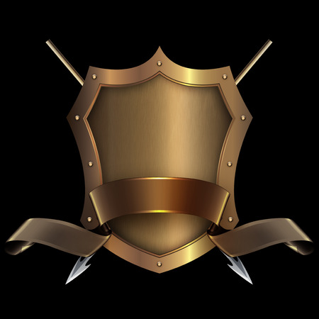 Gold riveted shield with gold ribbon and two spears on black background for the design. Stock Photo