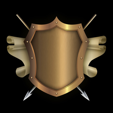 riveted: Gold riveted shield with scroll of parchment and two spears on black background for the design.