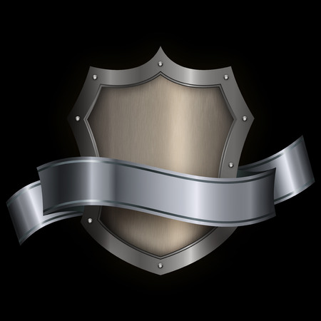 riveted: Silver riveted shield with silver ribbon on black background for the design.