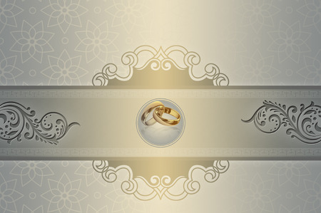 gold rings: Template card of wedding invitation with gold rings and elegant patterns.