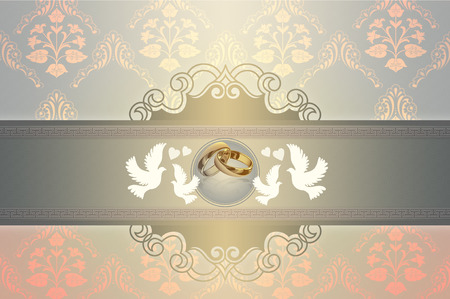 gold rings: Template card of wedding invitation with gold rings and elegant patterns and doves.