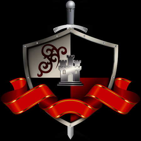 riveted: Medieval riveted shield with sword and red ribbon on black background. Stock Photo