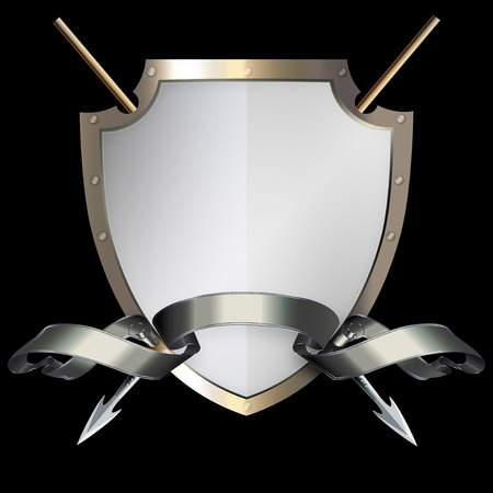 riveted: Medieval riveted shield with two spears and silver ribbon on black background.