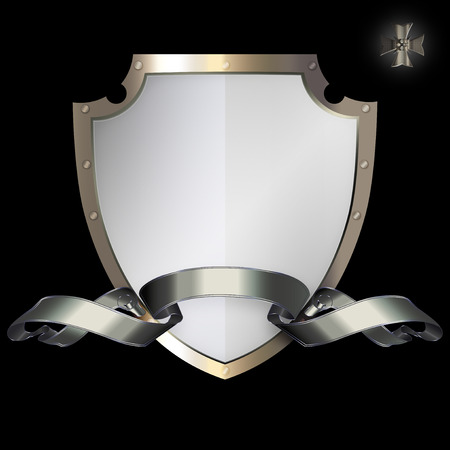 riveted: Medieval riveted shield and silver ribbon on black background. Stock Photo