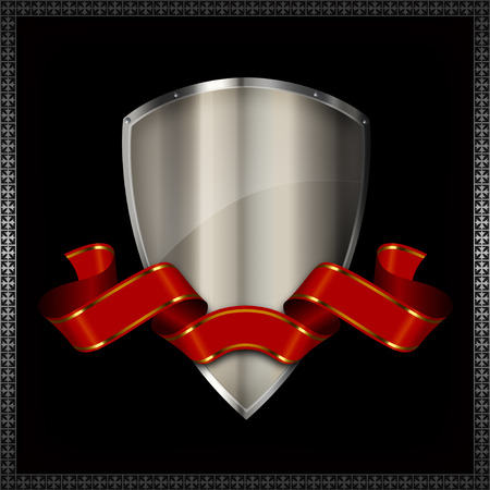 Medieval silver shield and red ribbon on black background. photo