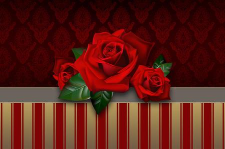 rosas rojas: Oro pasado de moda y fondo rojo con motivos florales vintage y rosas rojas.