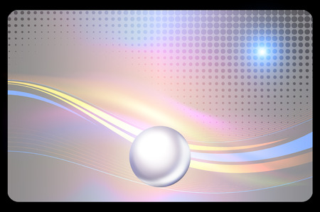 perl: Futuristic background with abstract sphere and halftone patterns for the design of business card. Stock Photo