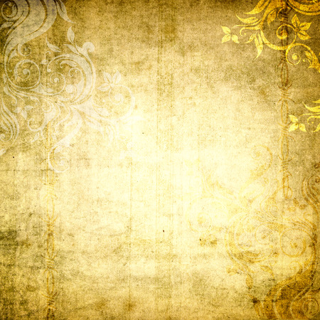 Old grunge paper background with floral patterns for the design. photo