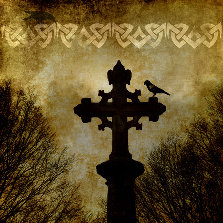 celtic cross: Old grunge paper background with celtic cross and ornament.