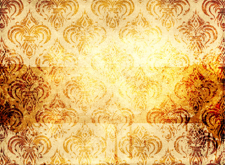 oldfashioned: Old grunge paper background with old-fashioned patterns.