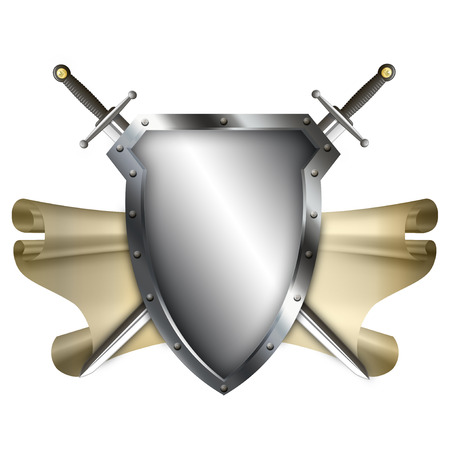 medieval shield: Medieval shield with scroll of parchment and two swords on white background.