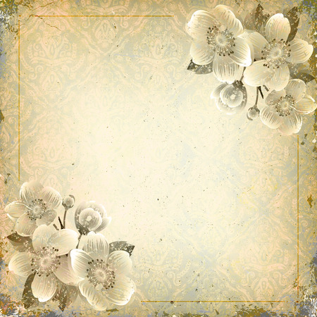 space for text: Grunge background with floral patterns and copy space for text.