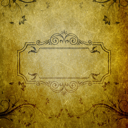 Grunge floral background with frame and copy space for text. photo