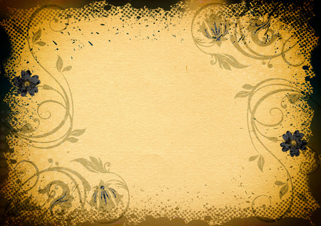 Old grunge paper with floral patterns. Natural old paper texture. photo