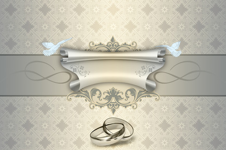gold rings: Decorative background with white doves and gold rings and scroll of parchment for the design of wedding invitation card.