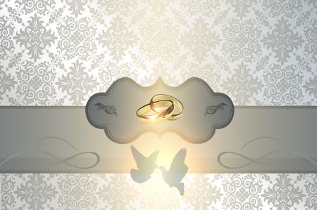gold rings: Decorative background with white doves and gold rings and frame for the design of wedding invitation card.